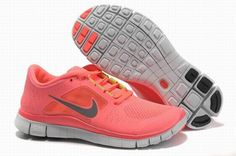 Nike Free 5.0 Light Red Gray Womens Running Shoes