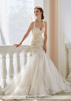 Mermaid styled wedding gown with sheer V-neckline, organza skirt, beaded embellishments, and lace appliqué details I Style: Y21672 Aprilia I by Sophia Tolli I http://knot.ly/6491B00x9