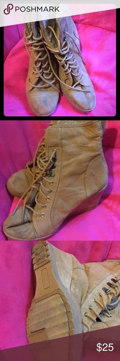 Warm  booties Tall wedge  boots in good condition it's a re-posh too small Faded Glory Shoes Lace Up Boots