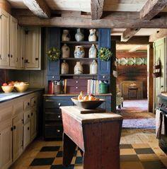 Rustic Kitchen Tables, Primitive Kitchen Decor, Rustic Country Kitchens, Primitive Homes, Country Decor, Kitchen Dining, Primitive Country, Rustic Table, Primitive Bedroom
