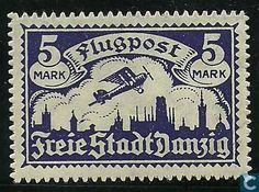 Stamps - Danzig - Airplane above Danzig
