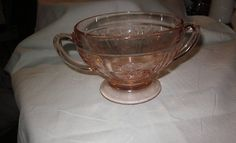 Sharon sugar bowl  pink Depression glass