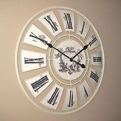 on sale wall clock large 62cm vintage cream london westminster time metal
