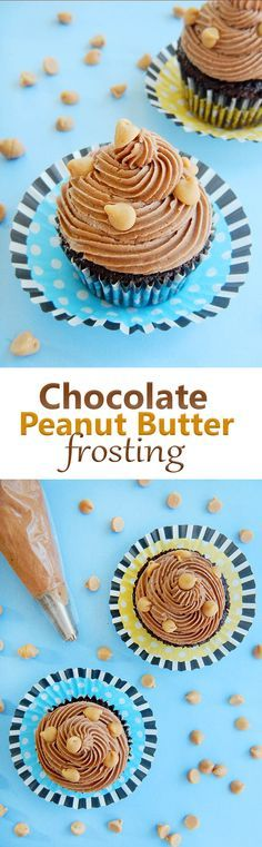 New Chocolate Cupcakes Filled With Peanut Butter Frosting Recipes 48 Ideas Chocolate Peanut Butter Frosting, Frosting For Chocolate Cupcakes, Homemade Chocolate Frosting, Butter Icing, Homemade Peanut Butter, Butter Cupcakes, Butter Recipe, Homemade Truffles, Homemade Brownies