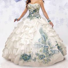 Radiate the room in a Mary's Bridal Beloving Collection Quinceanera Dress Style 4101 at your Sweet 15 party or at any formal event. Taffeta ball gown, lace-up back, strapless sweetheart neckline, ruff Unique Dresses, 15 Dresses, Pretty Dresses, Pretty Quinceanera Dresses, Quinceanera Ideas, Peacock Dress, Bridal Wedding Dresses, Mary's Bridal, Quince Dresses