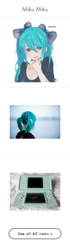 """""""Miku Miku"""" by breeze-flarus ❤ liked on Polyvore featuring anime, vocaloid, transparent, filler, pictures, photos, backgrounds, photography, pics and fillers"""
