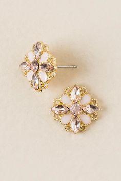 Mallory Flower Stone Stud Earring