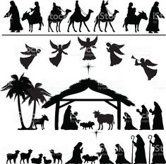 Nativity Silhouette Set royalty-free stock vector art