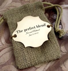 10 Burlap Wedding Favor Bags - The perfect blend to put coffee in - Personalized. $18.00, via Etsy.
