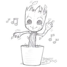 sketches of groot - Google Search