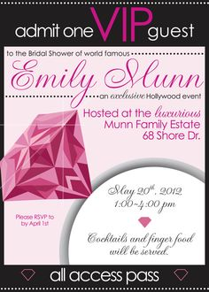 Bridal shower or Bachelorette invitation. VIP Hollywood exclusive event theme, with diamonds, sparkles and hollywood glam! Can be customized for any