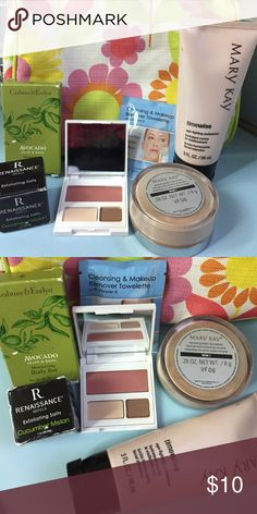Makeup-moisturizer, foundation, compact, body bar An array of sorts... Mary Kay Beige 1 mineral powder foundation, Mary Kay age fighting moisturizer, Clinique small eye shadow blush compact, cucumber melon Exfoliating salt, & cleaning & makeup remover towelette. Mary Kay Makeup Eyeshadow
