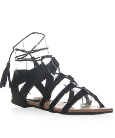 Women's Open Toe Strappy Gladiator Lace Up Ankle Cuff Flat Sandal -- Check out this great image  : Lace up sandals