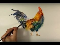 Watercolor Animals Painting : Chicken Paint - YouTube