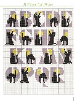Alphabet avec des chatons noirs grille de point de croix (1)
