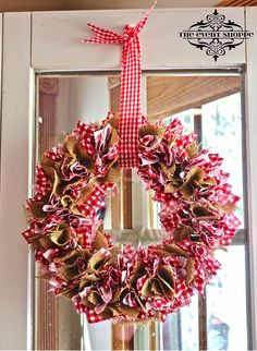 Burlap and red gingham fabric wreath by The Event Shoppe