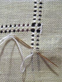 Hemming with drawn thread work - DIY hand hemstitched linen handkerchiefs - would be good for a small embroidery project on a corner Hardanger Hemstitched Linen - how to hand sew a decorative edge on linen - via Little House on the Suburbs It's a handk Hardanger Embroidery, Hand Embroidery Stitches, Embroidery Techniques, Ribbon Embroidery, Sewing Techniques, Cross Stitch Embroidery, Cross Stitch Patterns, Embroidery Designs, Cross Stitches