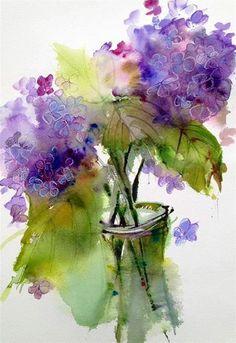 Hydrangea Watercolor #watercolor jd