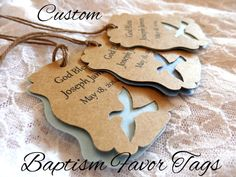 CUSTOM Dove Baptism Favor Tags Personalized / Custom by JDPaperie, $8.00