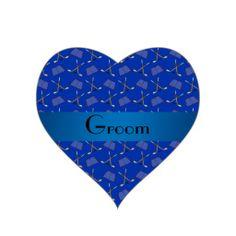 Groom gifts blue hockey pattern heart sticker