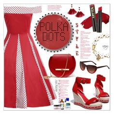"""Red Polka Dots"" by nans0717 ❤ liked on Polyvore featuring WithChic, Angela Valentine Handbags, L.A. Girl, Shashi, Betsey Johnson, Heidi London, Cetaphil and SkinCare"