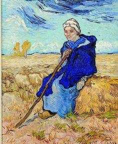 Art of the Day: Van Gogh, The Shepherdess (after Millet), November Oil on canvas, 53 x cm. Tel Aviv Museum of Art, Israel. Rembrandt, Vincent Van Gogh, Claude Monet, Henri De Toulouse-lautrec, Van Gogh Arte, Van Gogh Pinturas, Georges Seurat, Van Gogh Paintings, Art Van