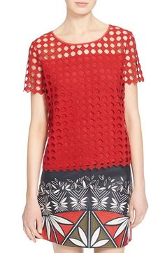 TORY BURCH Linen Jersey & Lace Tee. #toryburch #cloth #