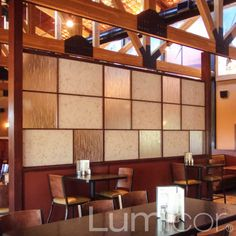 Bar partition - Lumicor resin panels are an ideal choice for restaurant booth partitions and restaurant room dividers - http://www.lumicor.com/portfolio/partitions