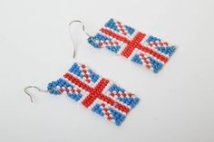 Union jack flag. Earrings from beads. Flag of United Kingdom