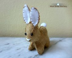 SOLD. Felt stuffed bunny by WoolStreetStitchery on Etsy.