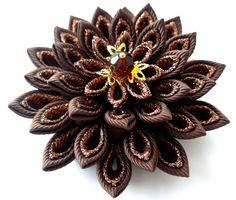 Brown Kanzashi fabric flower hair clip by JuLVa on Etsy