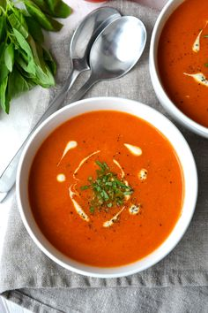 Tomato Soup | Every Last Bite Whole 30 Tomato Soup, Vegan Tomato Soup, Cream Of Tomato Soup, Tomato Soup Recipes, Healthy Dishes, Healthy Soup, Macro Friendly Recipes, Greek Chicken, Paleo Dinner