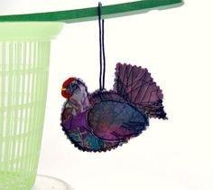 PURPLE HEN Textile Ornament Folk Art  Chicken by BozenaWojtaszek, $25.00