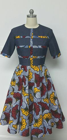 DENWAX Collection. African Print Denim Fit & Flare Midi Dress.