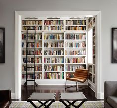 "aielloathome: "" Near perfect home library. A great guilty indulgence if you have the space is a home library. We like this one alot. Not to big, not to small, just right. We like that the homeowner had the electrician install some nice lighting at..."