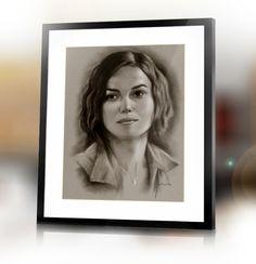 Keira Knightley custom dry brush handmade portrait from your photo by Jacek Jaśkowiak PortraitsBuy