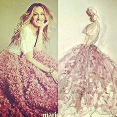 Sketch by Christian Siriano: Sarah Jessica Parker in Christian Siriano for Marie Claire September 2011 cover story