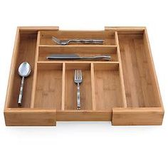 The Container Store - Expandable Bamboo Cutlery Tray | Spring Organization SALE $19.99