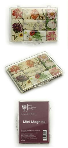Mini Fridge Magnet Set, Flower Collection of the Royal Horticultural Society. Set of 8 mini fridge magnets. € 8,95 #museumgift #souvenir  http://museum-webshop.com/mini-fridge-magnet-set-rhs-flower-collection.html