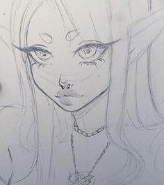 Indie Drawings, Art Drawings Sketches Simple, Cool Drawings, Dark Art Illustrations, Pencil Art Drawings, Drawings Of People, Drawings Of Girls, Fairy Drawings, Psychedelic Drawings