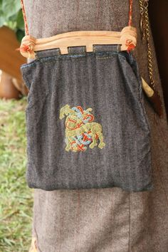 stitched and embroidered Hedeby style bag