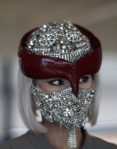 mademoiselle yulia or no? this is the kinda headwear that you pair with a big mongolian fur and a falcon on your arm very genghis khan it is ms yulia for undercover :) Bling Bling, Mademoiselle Yulia, Face Jewellery, Fine Jewelry, Crown Jewels, Fashion Face Mask, Headgear, Headdress, Masquerade