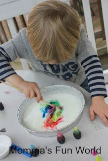 Momma's Fun World: 45 fun things you can do with food coloring  - milk painting
