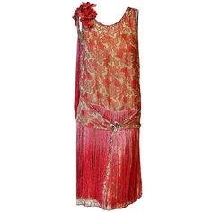 Pre-owned 1920's B. Altman Couture Metallic-Gold & Pink Lame... ($2,400) ❤ liked on Polyvore featuring dresses, aesthetic evening dresses, evening dresses, pink cocktail dress, flower print dress, special occasion dresses, flapper dress and red polka dot dress