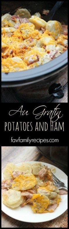 Slow Cooker Au Gratin Potatoes and Ham is comfort food at its best! It is a great recipe to use up leftover ham after a holiday dinner. #augratinpotatoes #slowcookerham