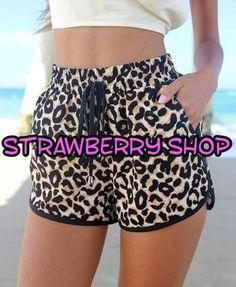 Shorts de leopardo para mujer disponible en:  http://www.ebay.es/itm/121989760877?ssPageName=STRK:MESELX:IT&_trksid=p3984.m1555.l2649
