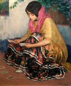 Joan Cardona y Lladós Spanish Painters, Spanish Artists, Tarot, Famous Art Pieces, Gypsy, Islamic Paintings, Renaissance Paintings, Victorian Art, Pretty Art