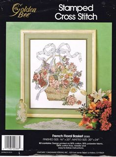 Vtg Embroidery Kit Stamped Cross Stitch Picture French Floral Basket Golden Bee #Candamar