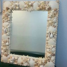 seashell mirror by BlueIslandshell on Etsy