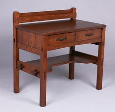 Early Gustav Stickley postcard desk c.1901 | Unsigned |  34.5″h x 34″w x 20″d | Craftsman Bungalow | Mission Style